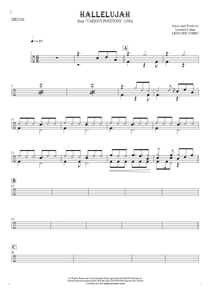 Hallelujah Notes For Drum Kit Playyournotes