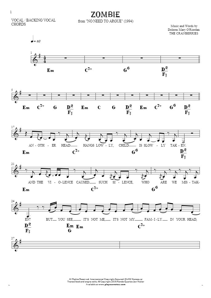 Zombie - Notes, lyrics and chords for vocal with accompaniment : PlayYourNotes