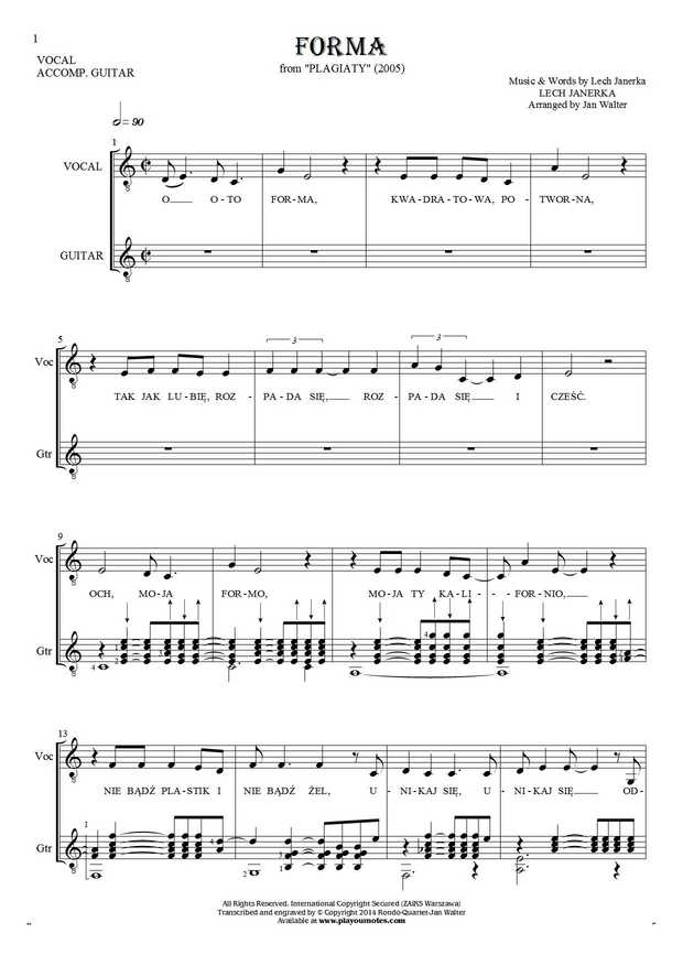 Forma - Notes and lyrics for solo voice with guitar accompaniment