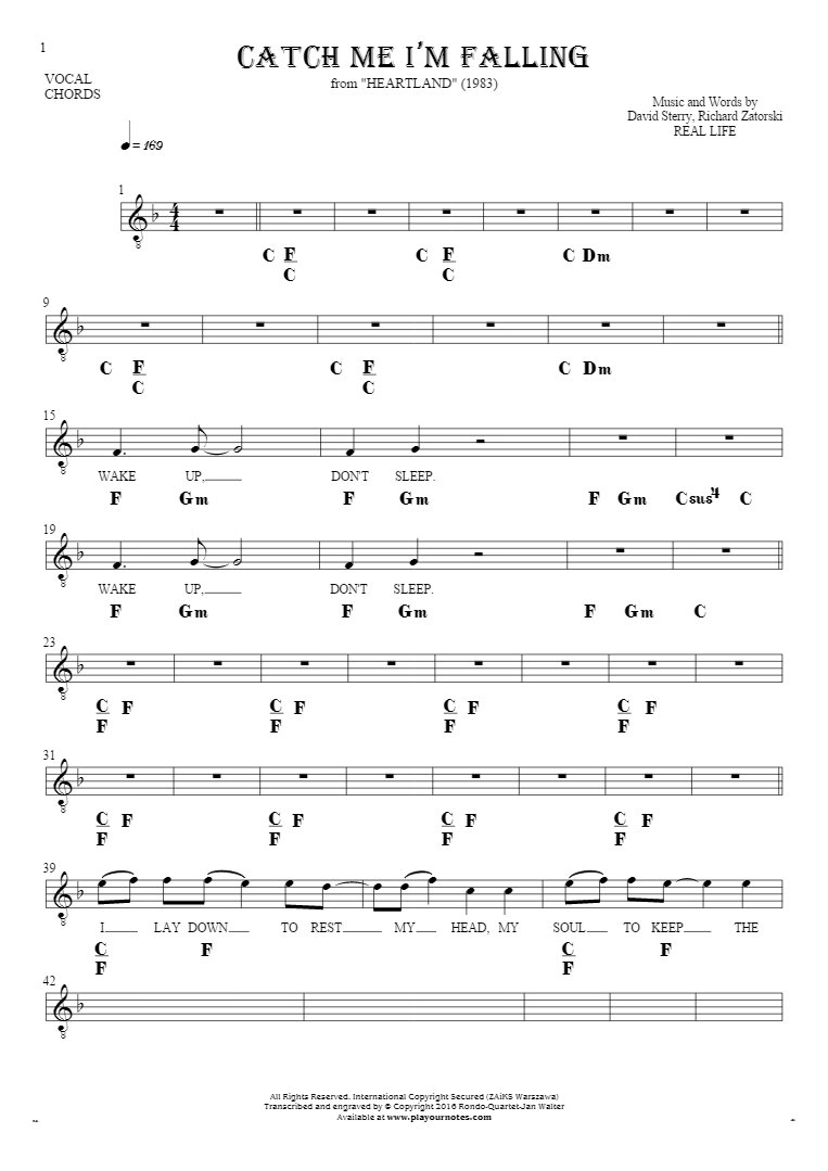 Catch Me I'm Falling - Notes, lyrics and chords for vocal with accompaniment