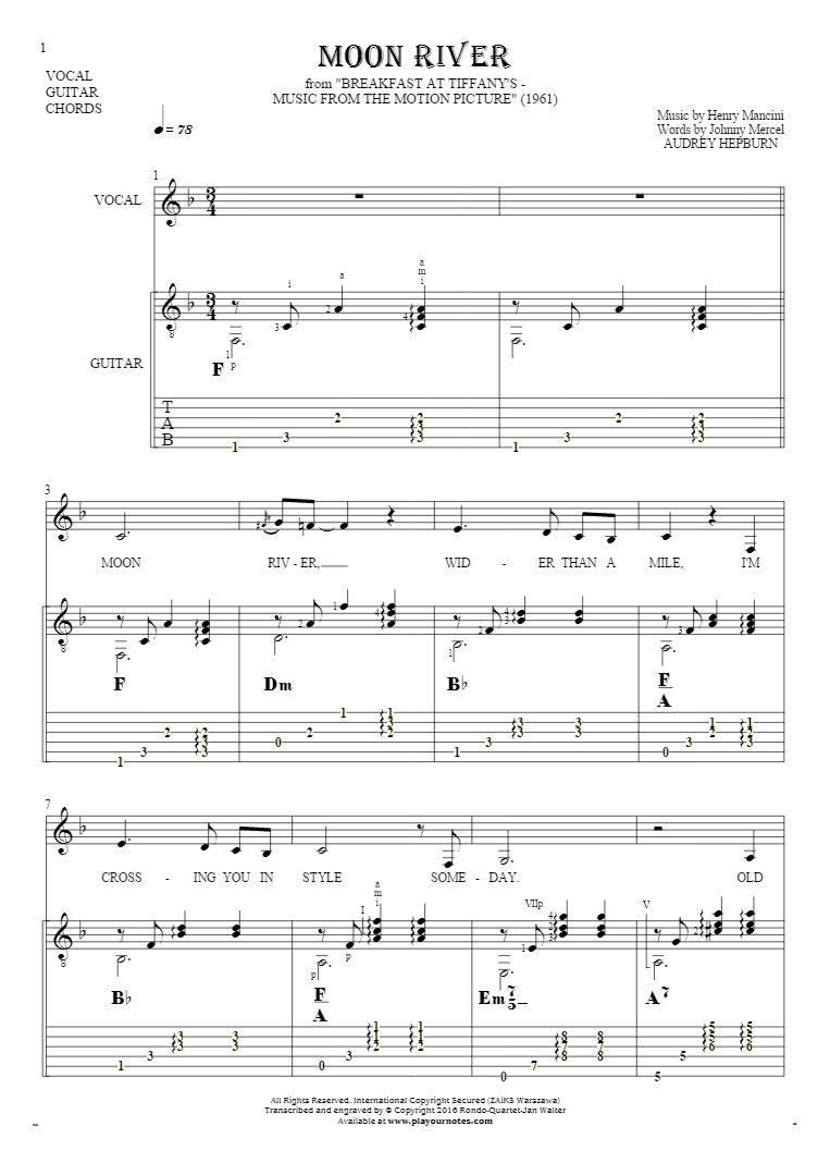 Moon River - Notes, tablature, chords and lyrics for vocal with guitar accompaniment