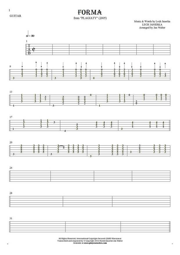 Forma - Tablature for guitar