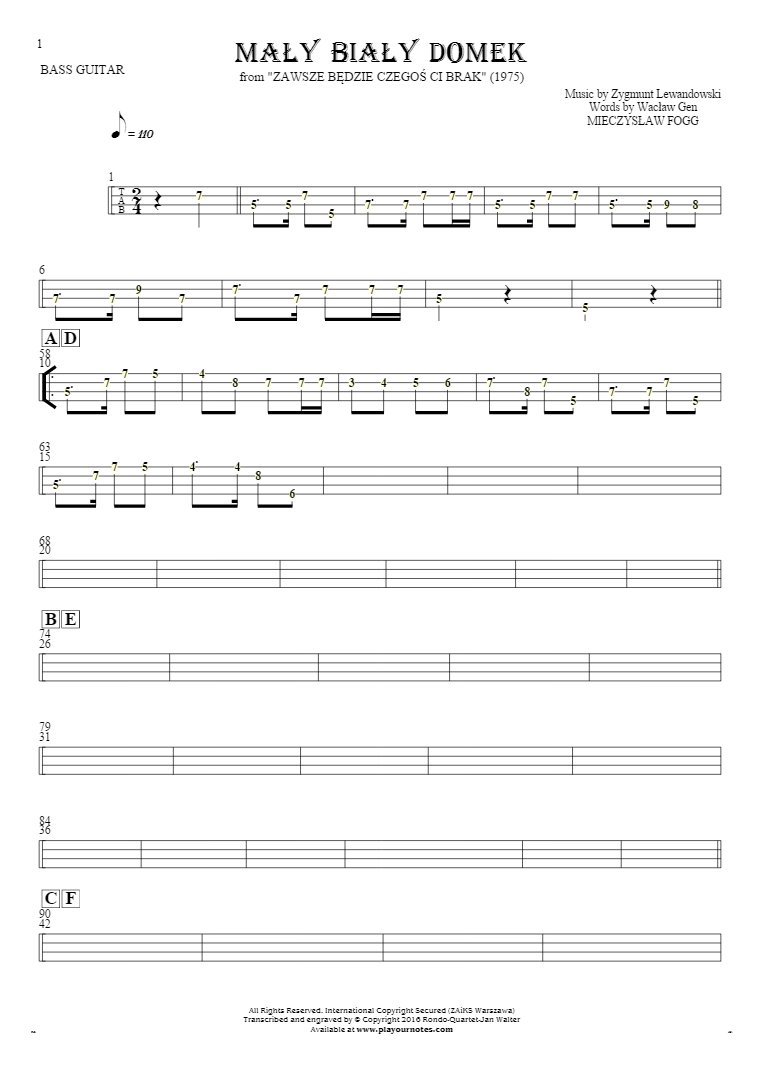 Mały biały domek - Tablature (rhythm values) for bass guitar