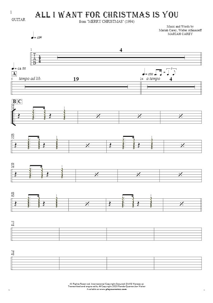 All I Want For Christmas Is You - Tablature (rhythm. values) for guitar