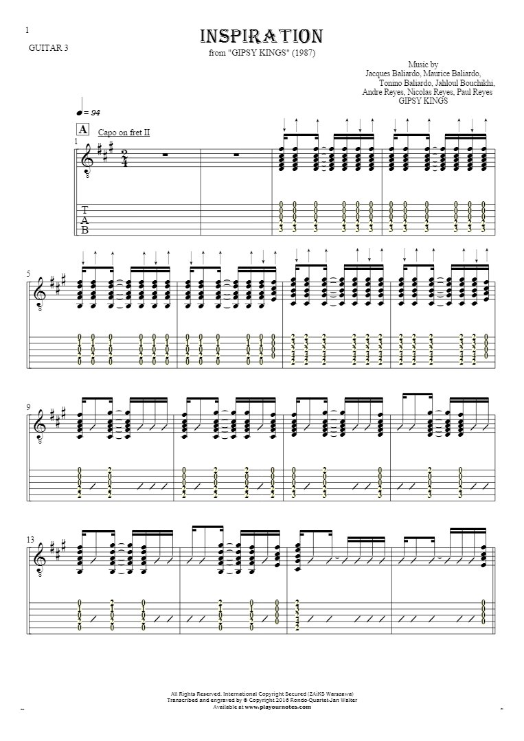 Inspiration - Notes and tablature for guitar - guitar 3 part