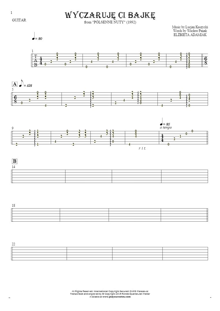 Wyczaruję ci bajkę - Tablature for guitar