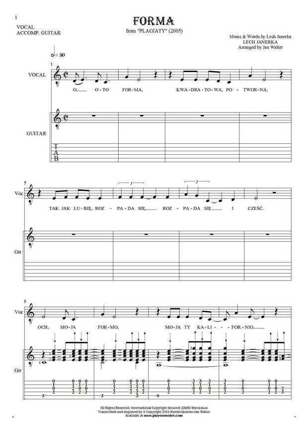 Forma - Notes, tablature and lyrics for solo voice with guitar accompaniment