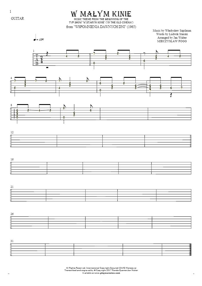 In the small cinema - Tablature (rhythm. values) for guitar solo (fingerstyle)