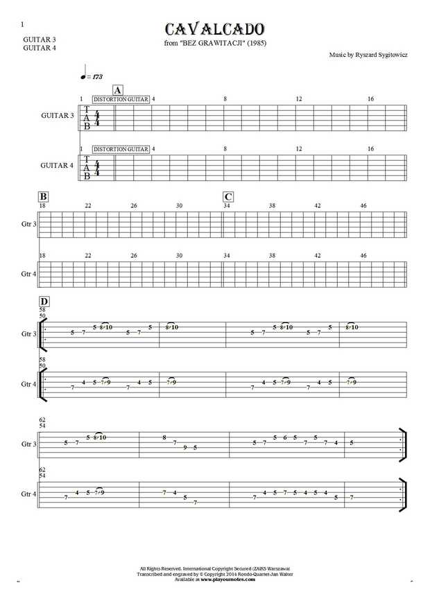 Cavalcado - Tablature for guitar - guitar 3 and 4 part