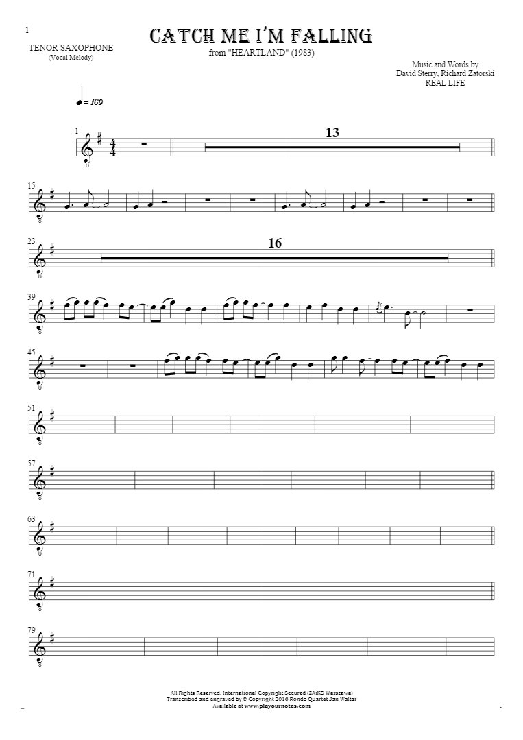 Catch Me I'm Falling - Notes for tenor saxophone - melody line