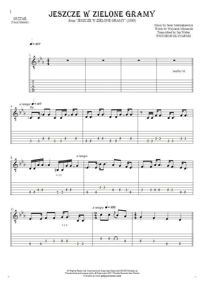 Jeszcze w zielone gramy - Noten und Tabulatur für Gitarre - Melodielinie