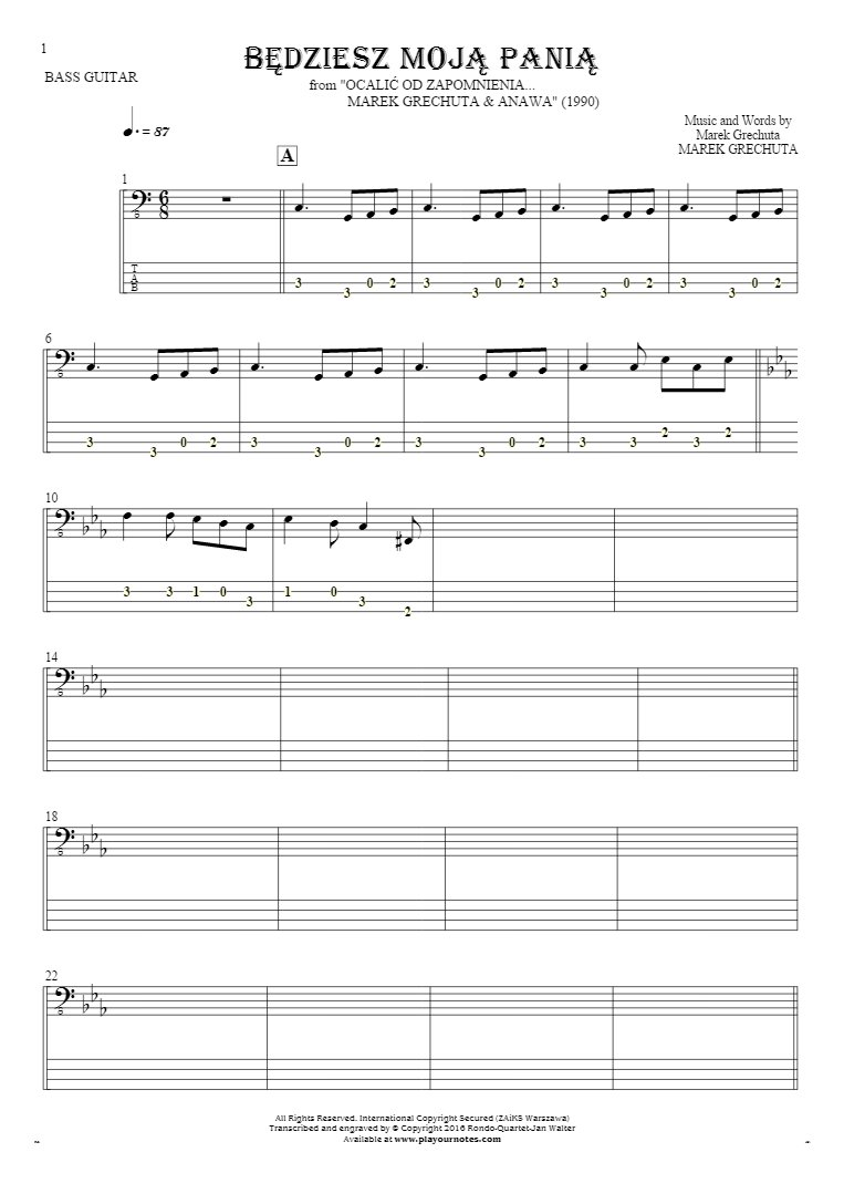 Będziesz moją panią - Notes and tablature for bass guitar