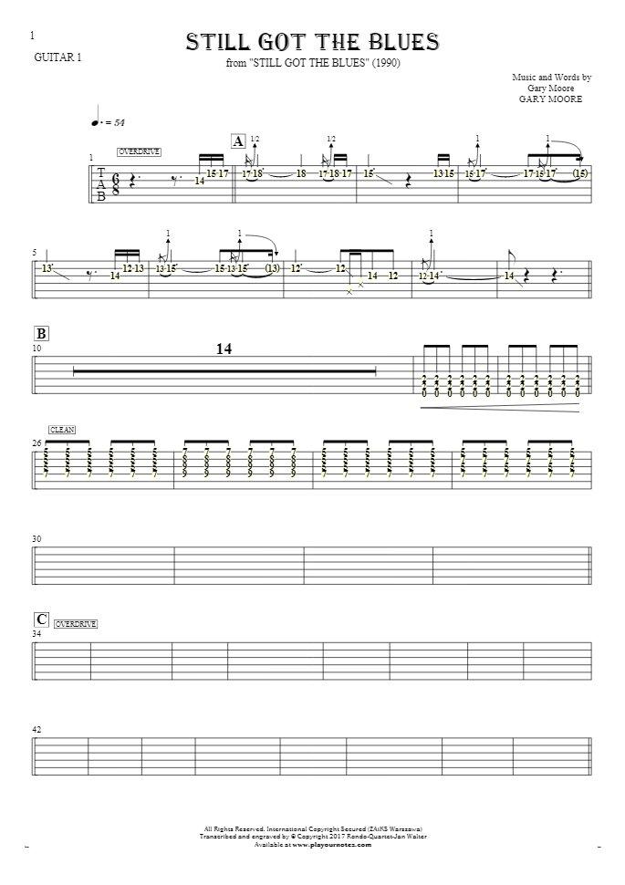 Still Got The Blues - Tablature (rhythm. values) for guitar - guitar 1 part