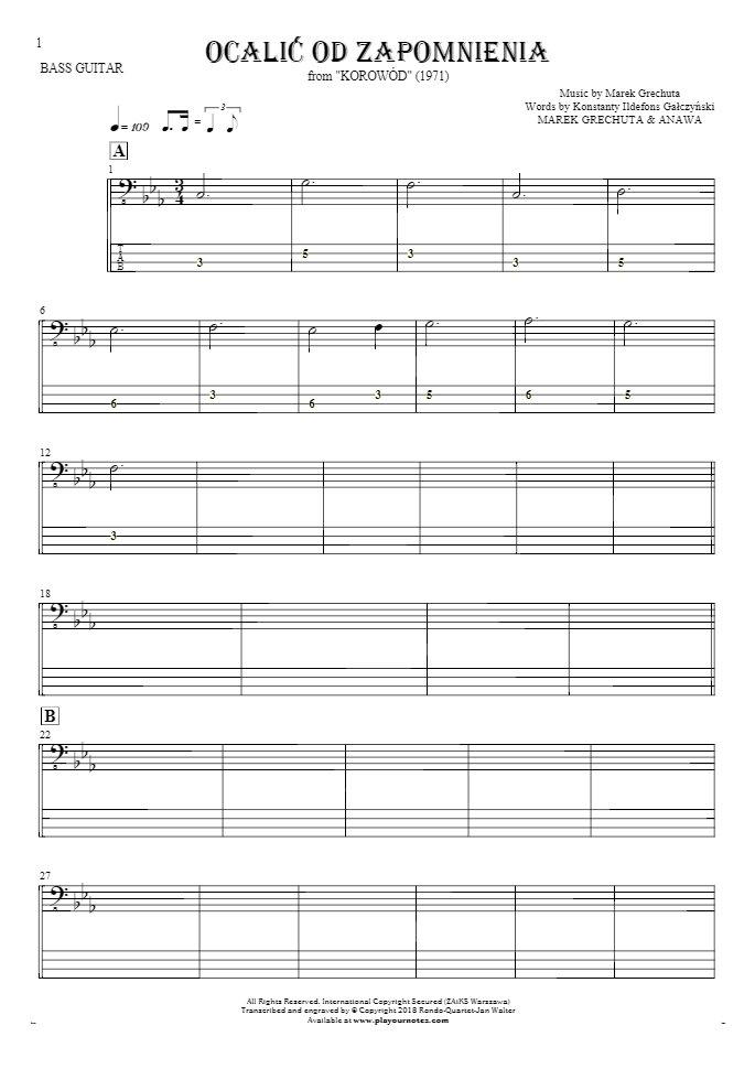 Ocalić od zapomnienia - Nuty i tabulatura na gitarę basową