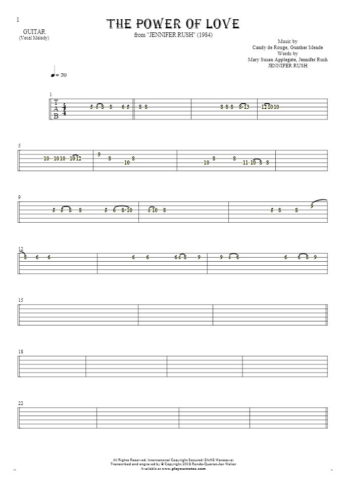 The Power Of Love - Tablature for guitar
