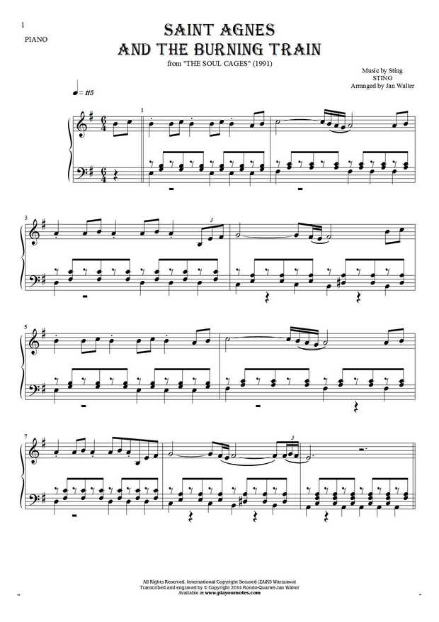 Saint Agnes And The Burning Train - Notes for piano solo