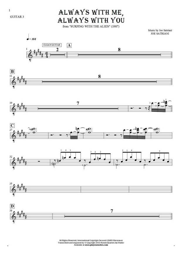 Always With Me, Always With You - Notes for guitar - guitar 3 part