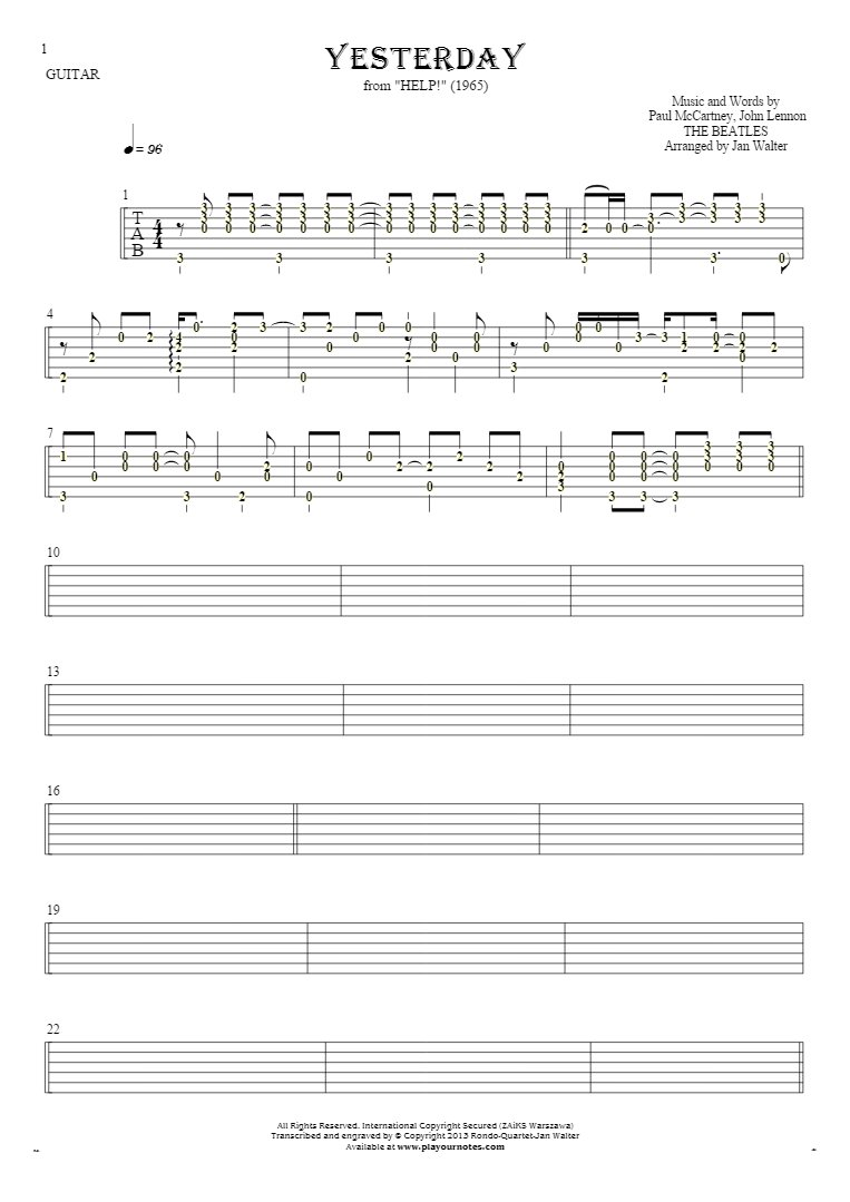 Yesterday - Tablature (rhythm values) for guitar solo (fingerstyle)