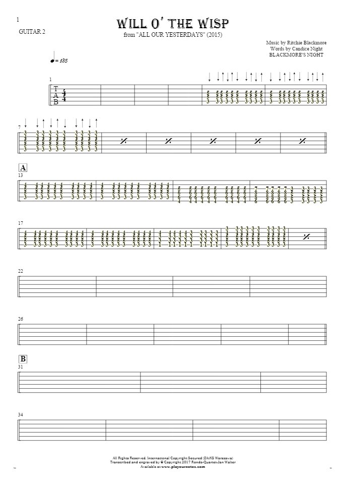 Will O' The Wisp - Tablature for guitar - guitar 2 part