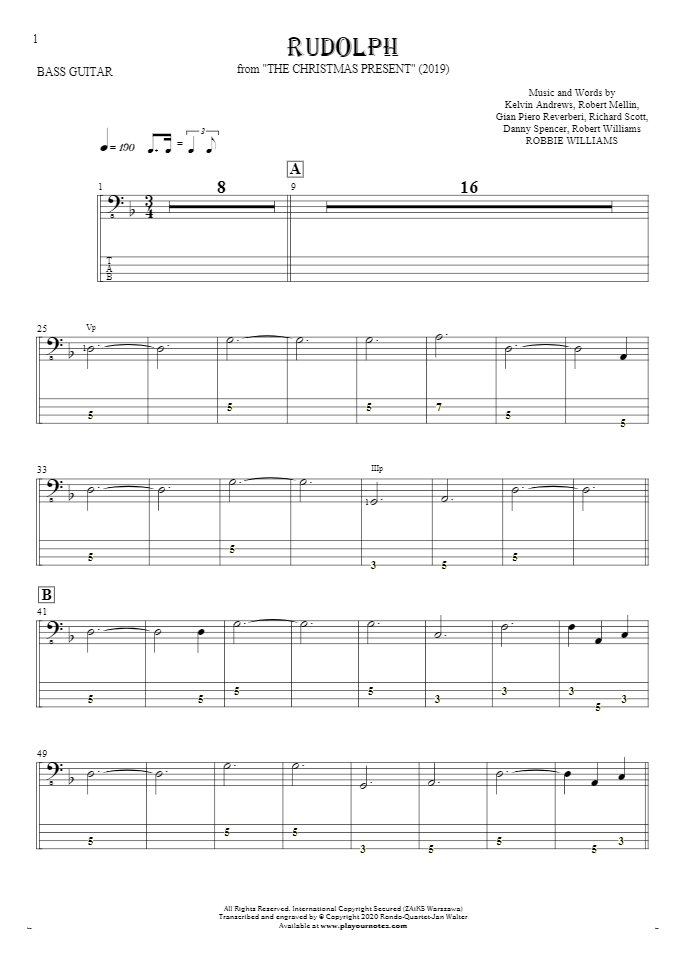 Rudolph - Notes and tablature for bass guitar