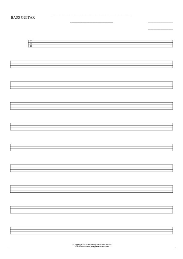 Free Blank Sheet Music - Tablature for bass guitar