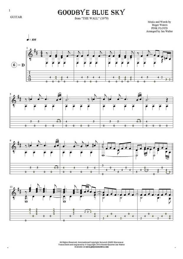 Goodbye Blue Sky - Notes and tablature for guitar solo (fingerstyle)