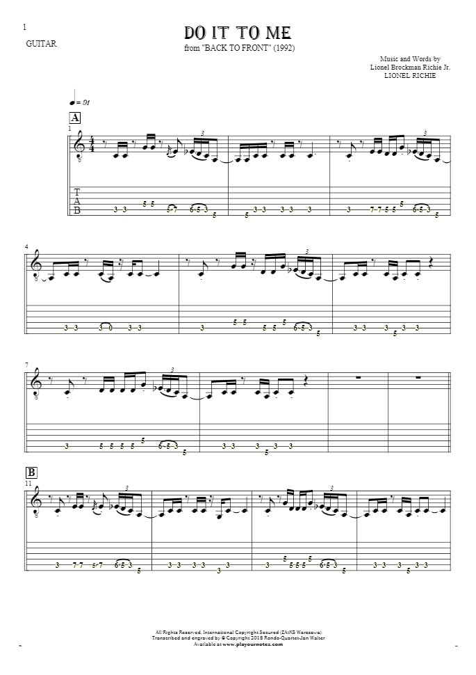 Do It To Me - Notes and tablature for guitar