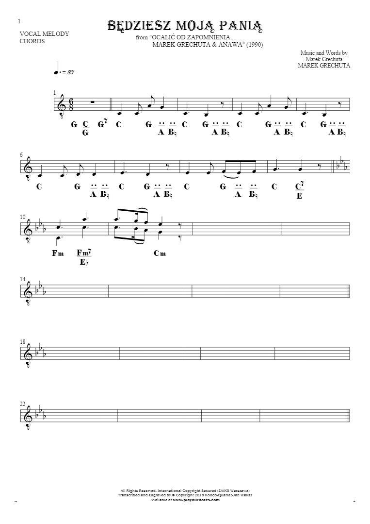 Będziesz moją panią - Notes and chords for solo voice with accompaniment