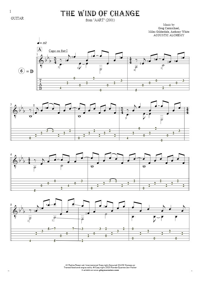 The Wind of Change - Notes and tablature for guitar