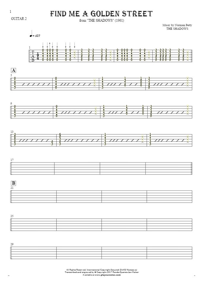 Find Me A Golden Street - Tablature for guitar - guitar 2 part