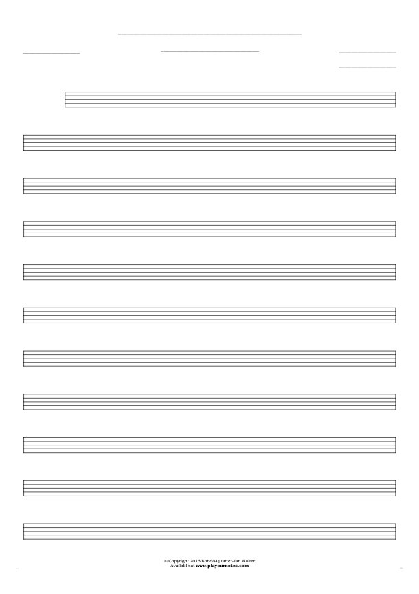 Free Blank Sheet Music - Notes for any instrument - medium staves
