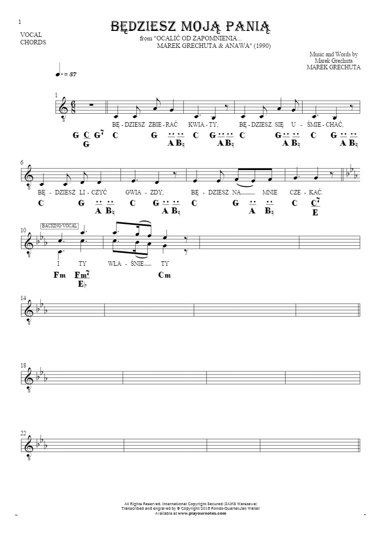 Będziesz moją panią - Notes, lyrics and chords for vocal with accompaniment