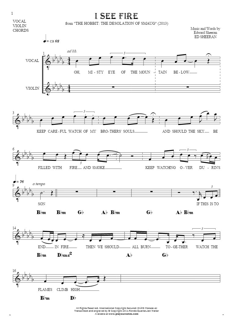 I See Fire - Notes, lyrics and chords for solo voice with accompaniment