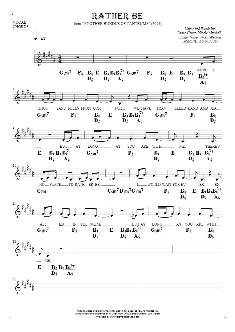 Rather Be - Notes, lyrics and chords for vocal with accompaniment
