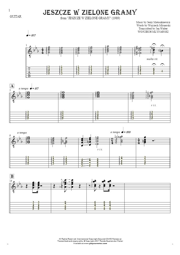 Jeszcze w zielone gramy - Notes and tablature for guitar
