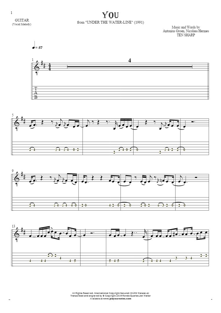 You - Notes and tablature for guitar - melody line