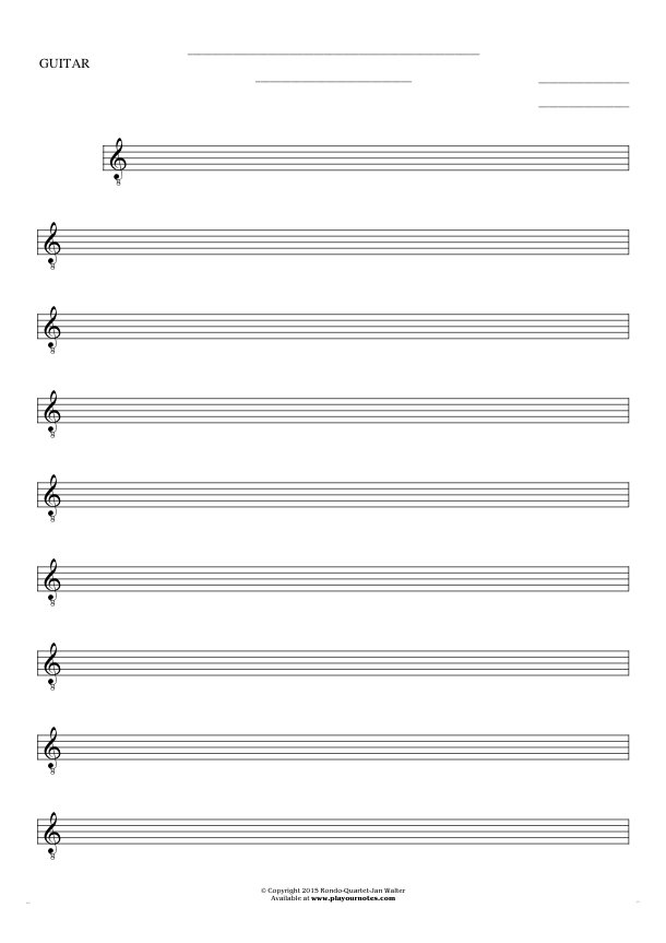 Free Blank Sheet Music - Notes for guitar