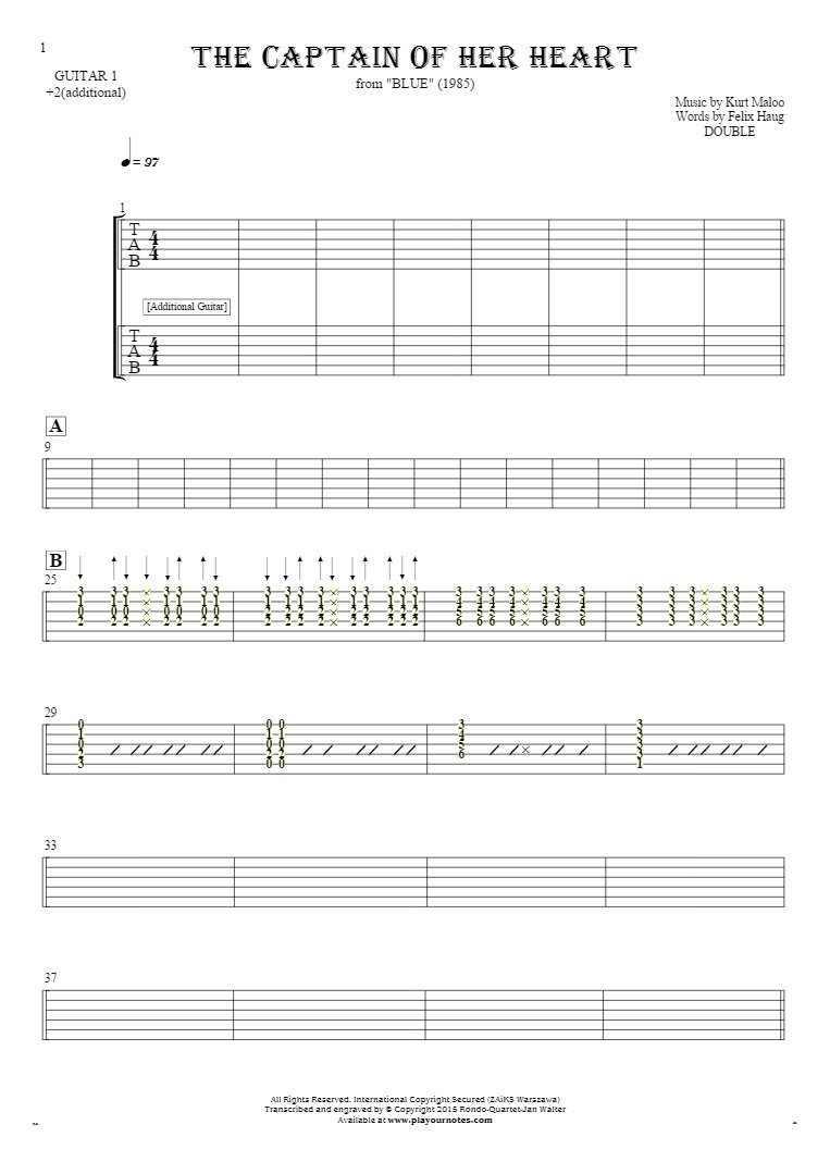 The Captain of Her Heart - Tablature for guitar - guitar 1 and 2 part