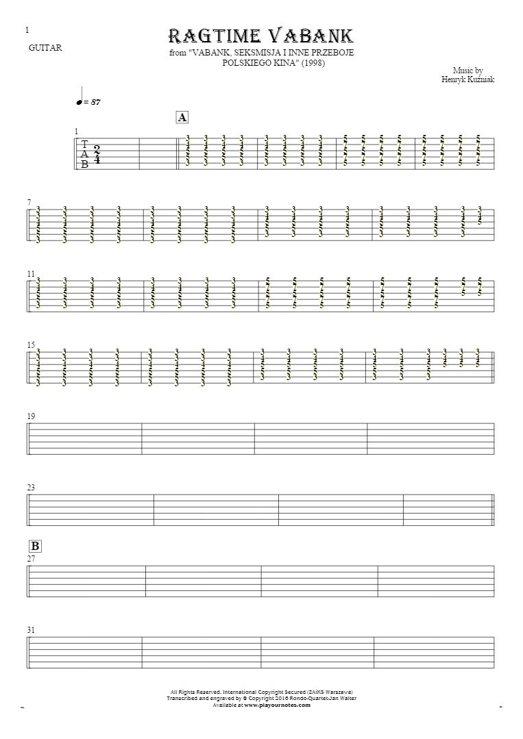 Ragtime Vabank - Tablature for guitar