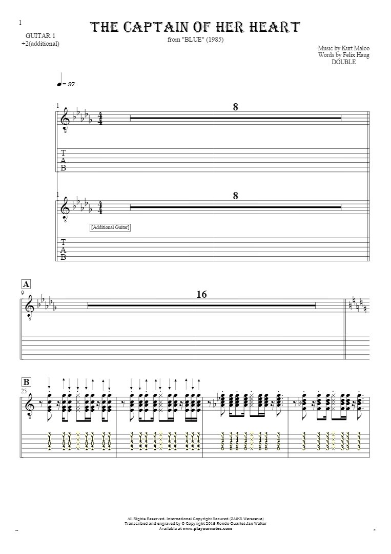 The Captain of Her Heart - Notes and tablature for guitar - guitar 1 and 2 part