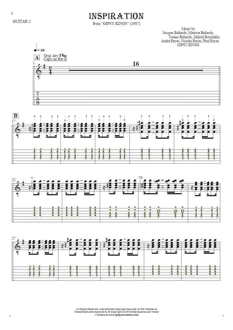 Inspiration - Notes (in transposing) and tablature for guitar - guitar 2 part