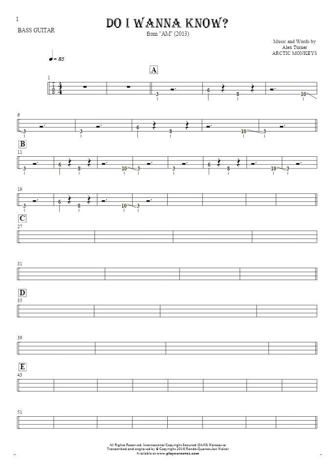 Do I Wanna Know? - Tablature (rhythm. values) for bass guitar