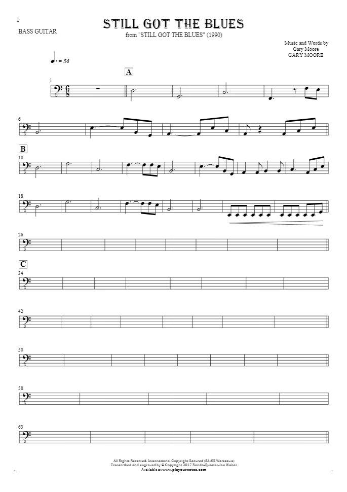 Still Got The Blues - Notes for bass guitar