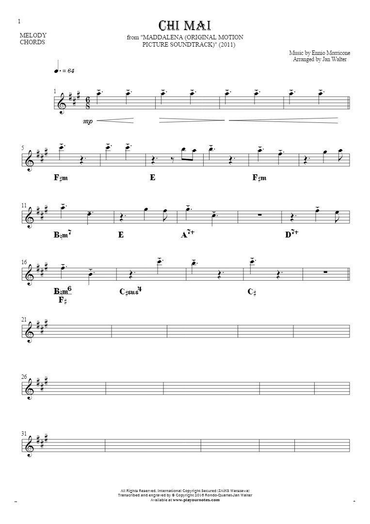 Chi Mai - Notes and chords for solo voice with accompaniment