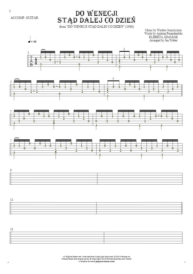Do Wenecji stąd dalej co dzień - Tablature (rhythm. values) for guitar - accompaniment