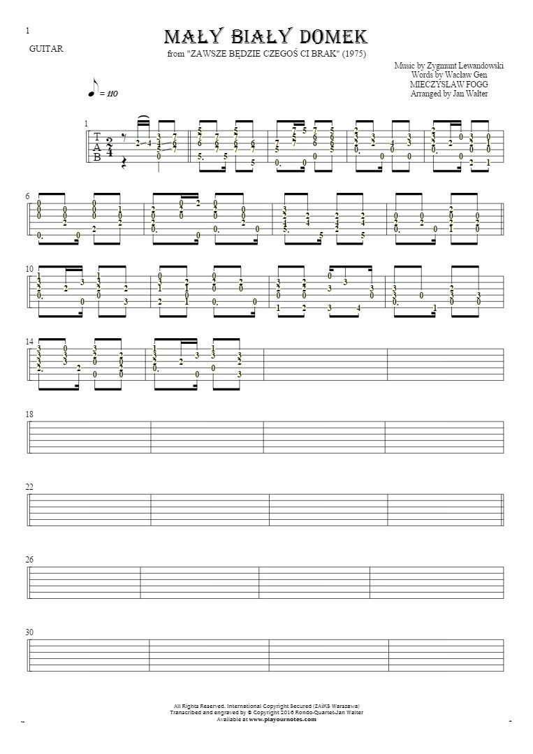 Mały biały domek - Tablature (rhythm values) for guitar solo (fingerstyle)