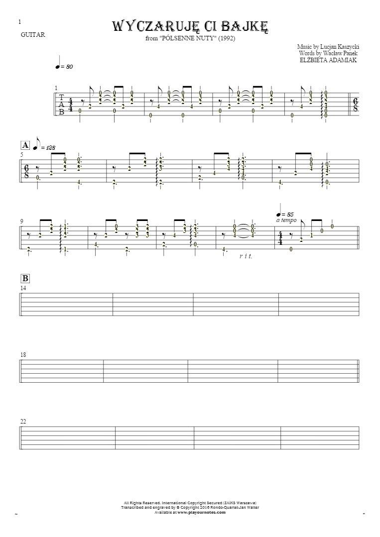 Wyczaruję ci bajkę - Tablature (rhythm values) for guitar