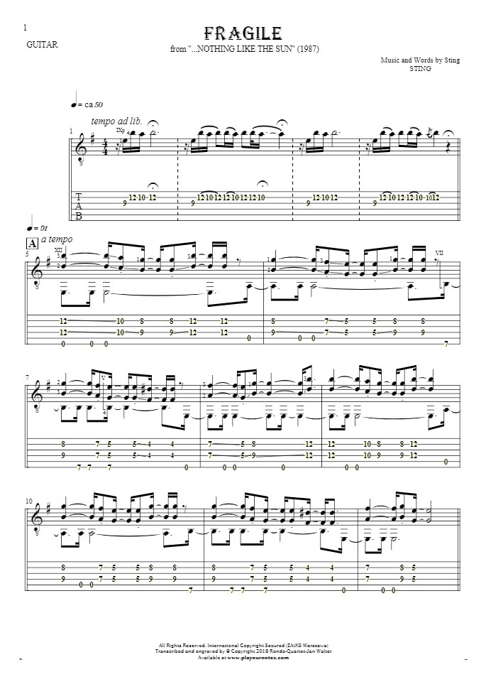 Fragile - Notes and tablature for guitar