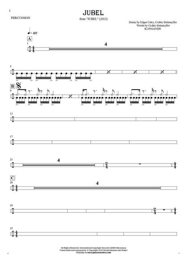 Jubel - Notes for percussion instruments