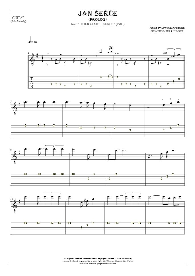 Jan Serce - Prolog - Notes and tablature for guitar - melody line